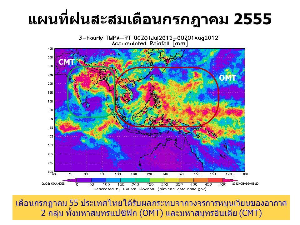 แผนที่ฝนสะสมเดือนกรกฎาคม 2555 OMT CMT เดือนกรกฏาคม 55 ประเทศไทยได้รับผลกระทบจากวงจรการหมุนเวียนของอากาศ 2 กลุ่ม ทั้งมหาสมุทรแปซิฟิก (OMT) และมหาสมุทรอินเดีย (CMT)