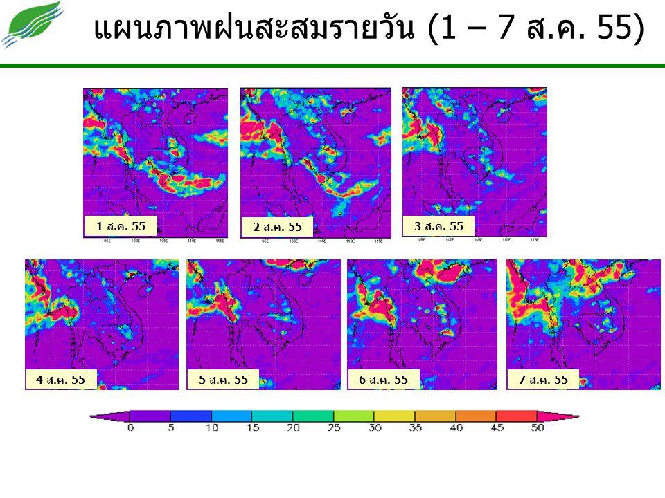 แผนภาพฝนสะสมรายวัน (1 – 7 ส.ค. 55) 2 ส.ค. 55 1 ส.ค.