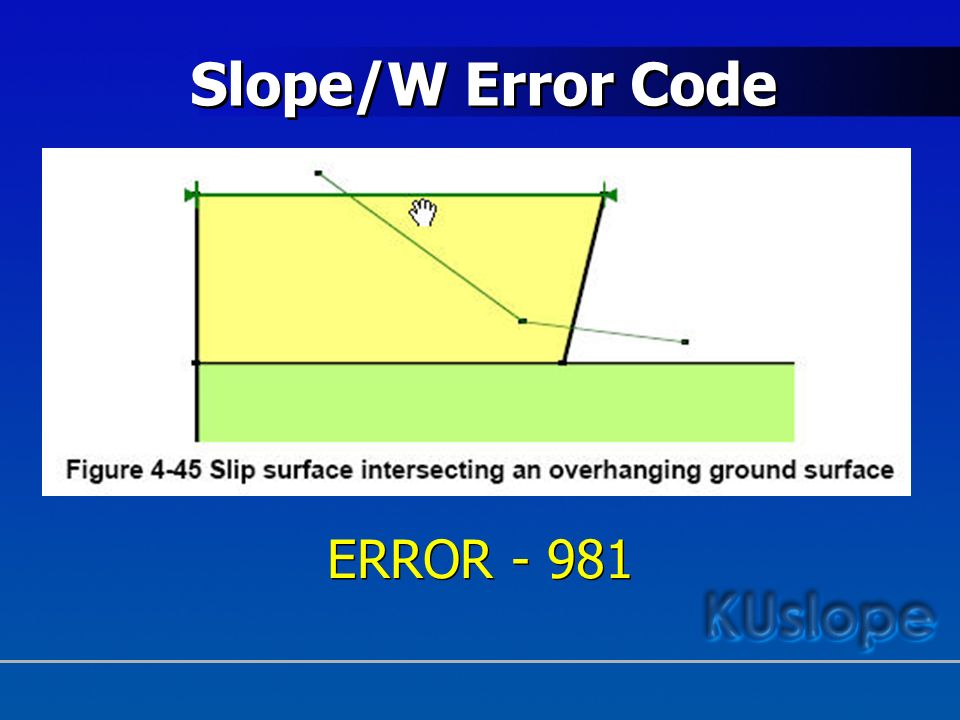 Slope/W Error Code ERROR - 981