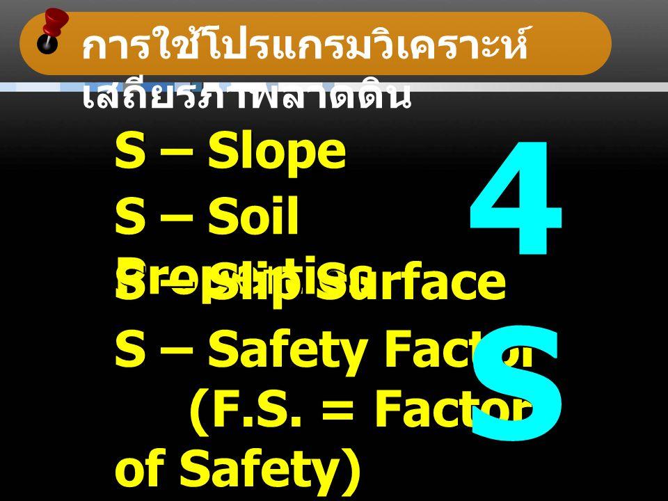 การใช้โปรแกรมวิเคราะห์ เสถียรภาพลาดดิน S – Slope S – Soil Properties S – Slip Surface S – Safety Factor (F.S.