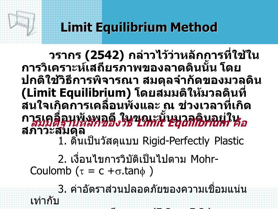 Limit Equilibrium Method วรากร (2542) กล่าวไว้ว่าหลักการที่ใช้ใน การวิเคราะห์เสถียรภาพของลาดดินนั้น โดย ปกติใช้วิธีการพิจารณา สมดุลจำกัดของมวลดิน (Limit Equilibrium) โดยสมมติให้มวลดินที่ สนใจเกิดการเคลื่อนพังและ ณ ช่วงเวลาที่เกิด การเคลื่อนพังพอดี ในขณะนั้นมวลดินอยู่ใน สภาวะสมดุล สมมติฐานหลักของวิธี Limit Equilibrium คือ 1.