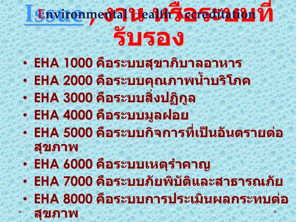 IssueIssue, งาน หรือระบบที่ รับรอง Issue EHA 1000 คือระบบสุขาภิบาลอาหาร EHA 1000 คือระบบสุขาภิบาลอาหาร EHA 2000 คือระบบคุณภาพน้ำบริโภค EHA 2000 คือระบบคุณภาพน้ำบริโภค EHA 3000 คือระบบสิ่งปฏิกูล EHA 3000 คือระบบสิ่งปฏิกูล EHA 4000 คือระบบมูลฝอย EHA 4000 คือระบบมูลฝอย EHA 5000 คือระบบกิจการที่เป็นอันตรายต่อ สุขภาพ EHA 5000 คือระบบกิจการที่เป็นอันตรายต่อ สุขภาพ EHA 6000 คือระบบเหตุรำคาญ EHA 6000 คือระบบเหตุรำคาญ EHA 7000 คือระบบภัยพิบัติและสาธารณภัย EHA 7000 คือระบบภัยพิบัติและสาธารณภัย EHA 8000 คือระบบการประเมินผลกระทบต่อ สุขภาพ EHA 8000 คือระบบการประเมินผลกระทบต่อ สุขภาพ EHA 9000 คือระบบกฎหมายสาธารณสุข EHA 9000 คือระบบกฎหมายสาธารณสุข Environmental Health Accreditation