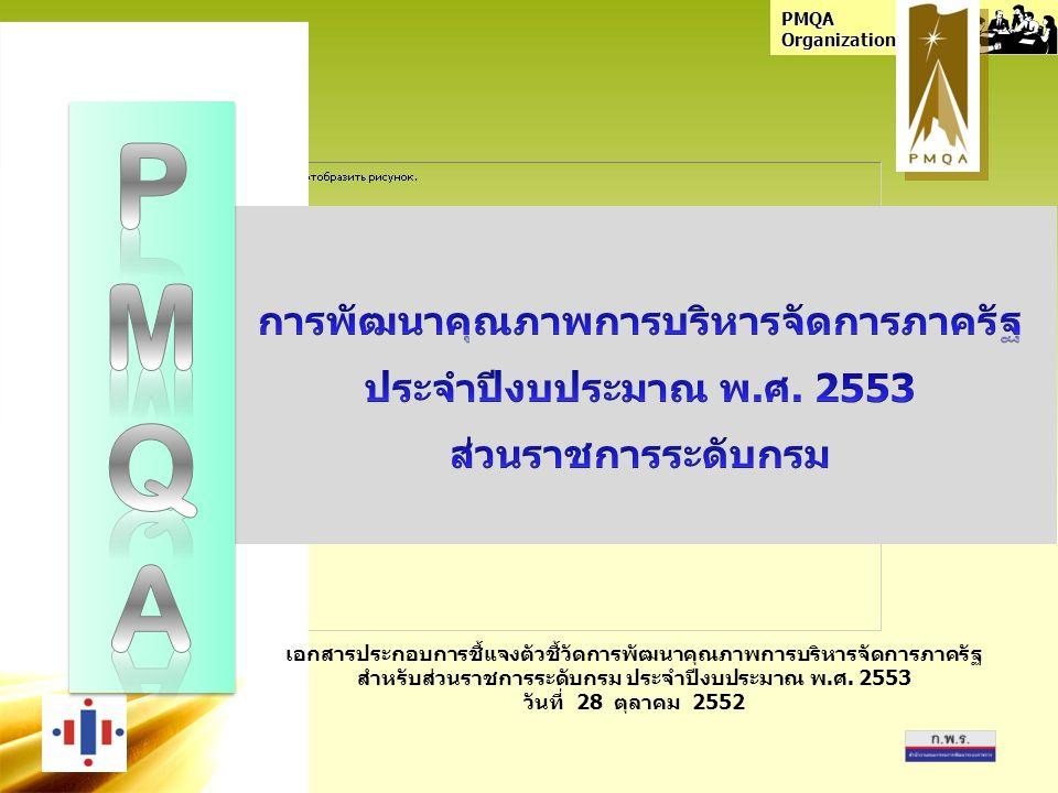 PMQA Organization เอกสารประกอบการชี้แจงตัวชี้วัดการพัฒนาคุณภาพการบริหารจัดการภาครัฐ สำหรับส่วนราชการระดับกรม ประจำปีงบประมาณ พ.ศ.