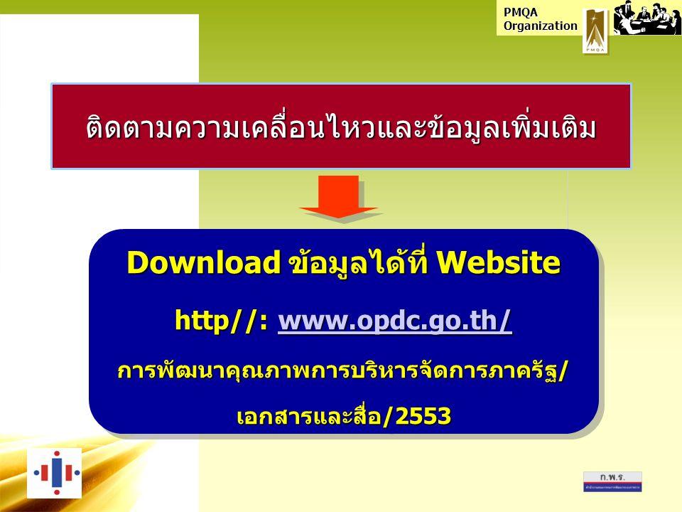 PMQA Organization ติดตามความเคลื่อนไหวและข้อมูลเพิ่มเติม Download ข้อมูลได้ที่ Website http//: www.opdc.go.th/ www.opdc.go.th/ การพัฒนาคุณภาพการบริหารจัดการภาครัฐ/ เอกสารและสื่อ/2553 Download ข้อมูลได้ที่ Website http//: www.opdc.go.th/ www.opdc.go.th/ การพัฒนาคุณภาพการบริหารจัดการภาครัฐ/ เอกสารและสื่อ/2553