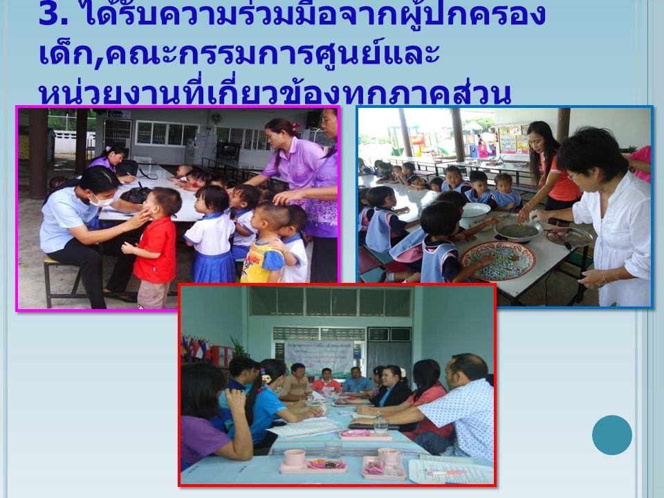 3. ได้รับความร่วมมือจากผู้ปกครอง เด็ก, คณะกรรมการศูนย์และ หน่วยงานที่เกี่ยวข้องทุกภาคส่วน