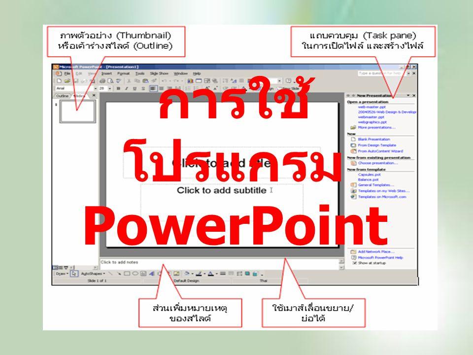 การใช้ โปรแกรม PowerPoint
