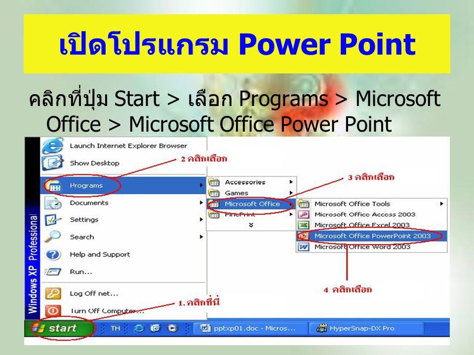 เปิดโปรแกรม Power Point คลิกที่ปุ่ม Start > เลือก Programs > Microsoft Office > Microsoft Office Power Point