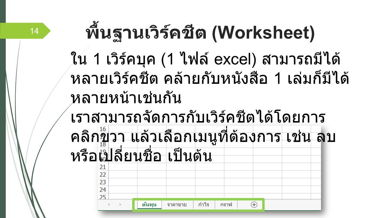 พื้นฐานเวิร์คชีต (Worksheet) 14 ใน 1 เวิร์คบุค (1 ไฟล์ excel) สามารถมีได้ หลายเวิร์คชีต คล้ายกับหนังสือ 1 เล่มก็มีได้ หลายหน้าเช่นกัน เราสามารถจัดการกับเวิร์คชีตได้โดยการ คลิกขวา แล้วเลือกเมนูที่ต้องการ เช่น ลบ หรือเปลี่ยนชื่อ เป็นต้น