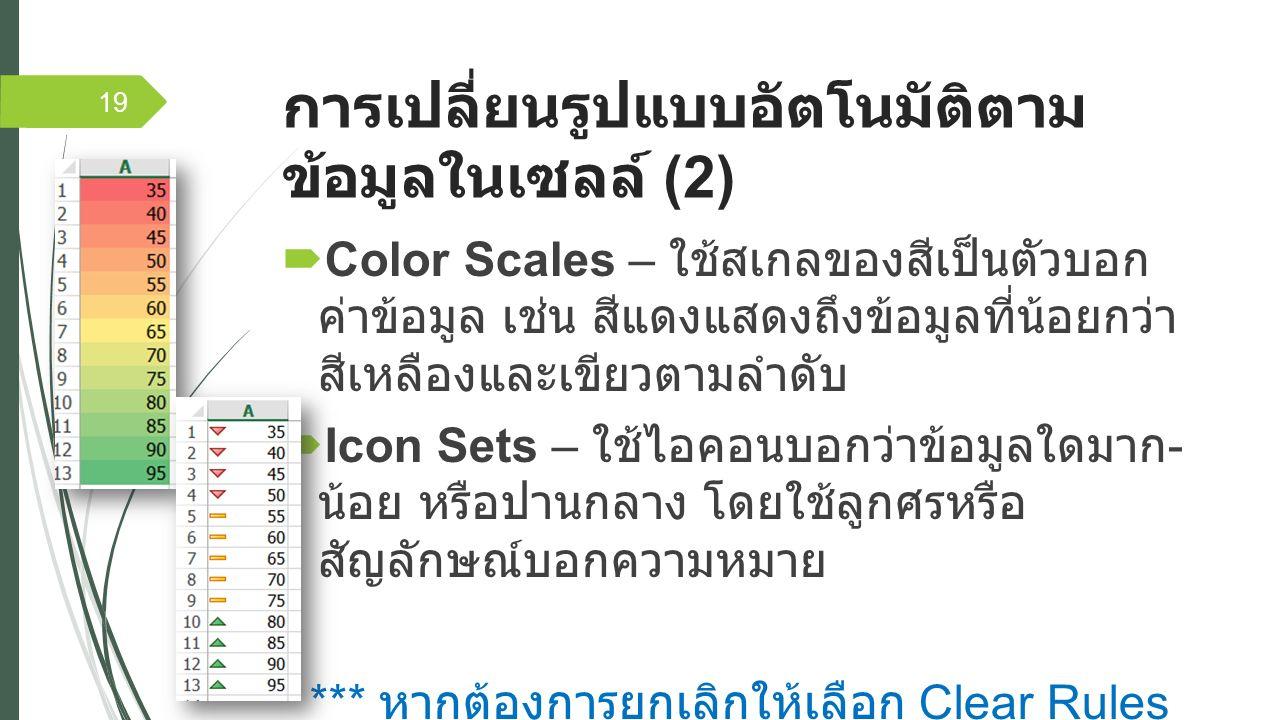 การเปลี่ยนรูปแบบอัตโนมัติตาม ข้อมูลในเซลล์ (2)  Color Scales – ใช้สเกลของสีเป็นตัวบอก ค่าข้อมูล เช่น สีแดงแสดงถึงข้อมูลที่น้อยกว่า สีเหลืองและเขียวตามลำดับ  Icon Sets – ใช้ไอคอนบอกว่าข้อมูลใดมาก - น้อย หรือปานกลาง โดยใช้ลูกศรหรือ สัญลักษณ์บอกความหมาย *** หากต้องการยกเลิกให้เลือก Clear Rules *** 19
