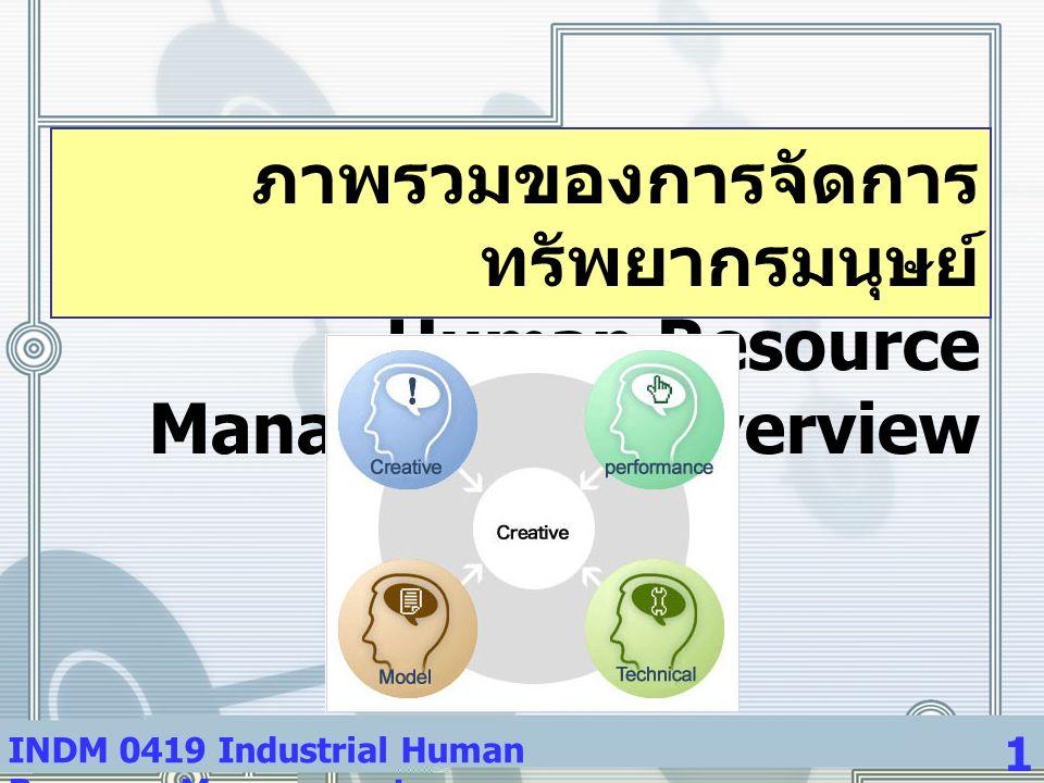 INDM 0419 Industrial Human Resource Management 1 ภาพรวมของการจัดการ ทรัพยากรมนุษย์ Human Resource Management: Overview