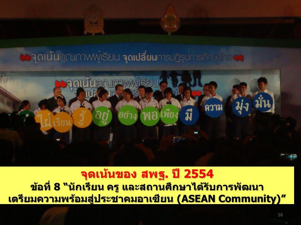 """จุดเน้นของ สพฐ. ปี 2554 ข้อที่ 8 """"นักเรียน ครู และสถานศึกษาได้รับการพัฒนา เตรียมความพร้อมสู่ประชาคมอาเซียน (ASEAN Community)"""" 16"""