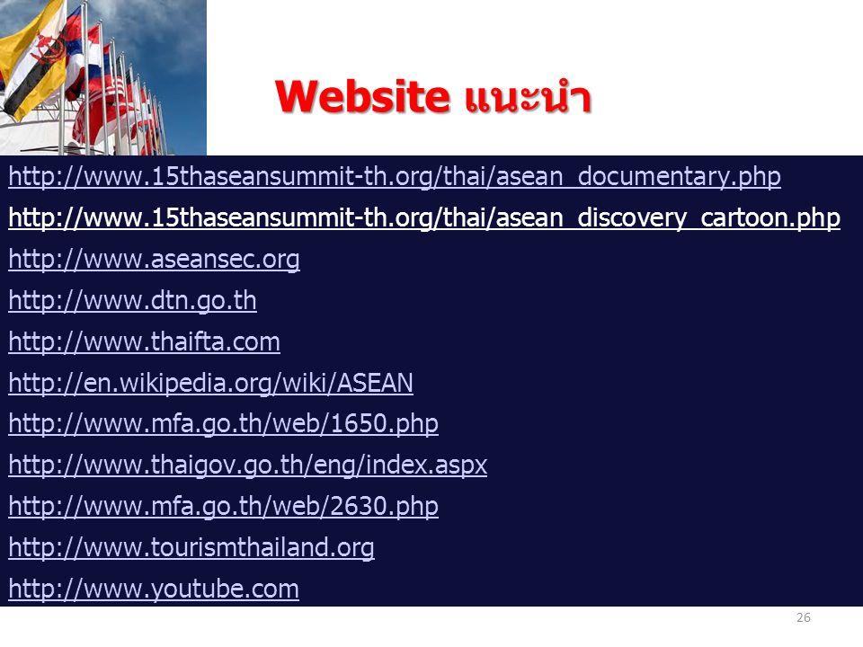 Website แนะนำ Website แนะนำ http://www.15thaseansummit-th.org/thai/asean_documentary.php http://www.15thaseansummit-th.org/thai/asean_discovery_cartoo