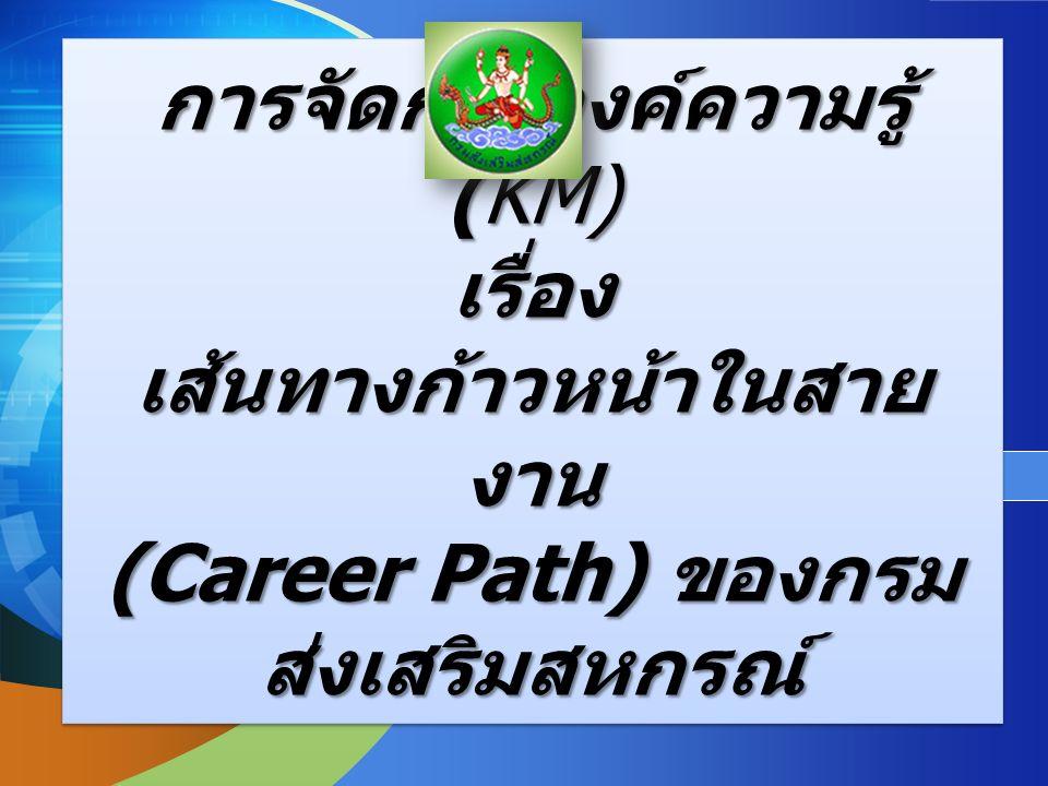 LOGO Add your company slogan การจัดการองค์ความรู้ (KM) เรื่อง เส้นทางก้าวหน้าในสาย งาน (Career Path) ของกรม ส่งเสริมสหกรณ์ การจัดการองค์ความรู้ (KM) เรื่อง เส้นทางก้าวหน้าในสาย งาน (Career Path) ของกรม ส่งเสริมสหกรณ์