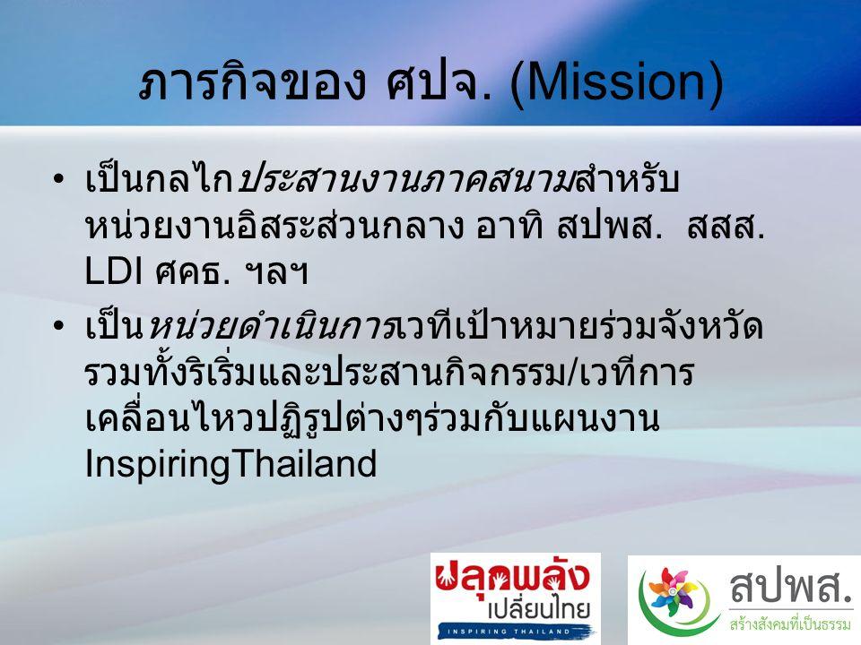 ภารกิจของ ศปจ. (Mission) เป็นกลไกประสานงานภาคสนามสำหรับ หน่วยงานอิสระส่วนกลาง อาทิ สปพส.