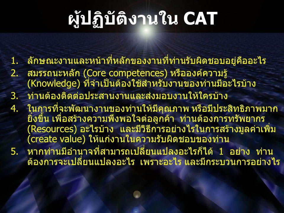 ผู้ปฏิบัติงานใน CAT 1.ลักษณะงานและหน้าที่หลักของงานที่ท่านรับผิดชอบอยู่คืออะไร 2.สมรรถนะหลัก (Core competences) หรือองค์ความรู้ (Knowledge) ที่จำเป็นต้องใช้สำหรับงานของท่านมีอะไรบ้าง 3.ท่านต้องติดต่อประสานงานและส่งมอบงานให้ใครบ้าง 4.ในการที่จะพัฒนางานของท่านให้มีคุณภาพ หรือมีประสิทธิภาพมาก ยิ่งขึ้น เพื่อสร้างความพึงพอใจต่อลูกค้า ท่านต้องการทรัพยากร (Resources) อะไรบ้าง และมีวิธีการอย่างไรในการสร้างมูลค่าเพิ่ม (create value) ให้แก่งานในความรับผิดชอบของท่าน 5.หากท่านมีอำนาจที่สามารถเปลี่ยนแปลงอะไรก็ได้ 1 อย่าง ท่าน ต้องการจะเปลี่ยนแปลงอะไร เพราะอะไร และมีกระบวนการอย่างไร