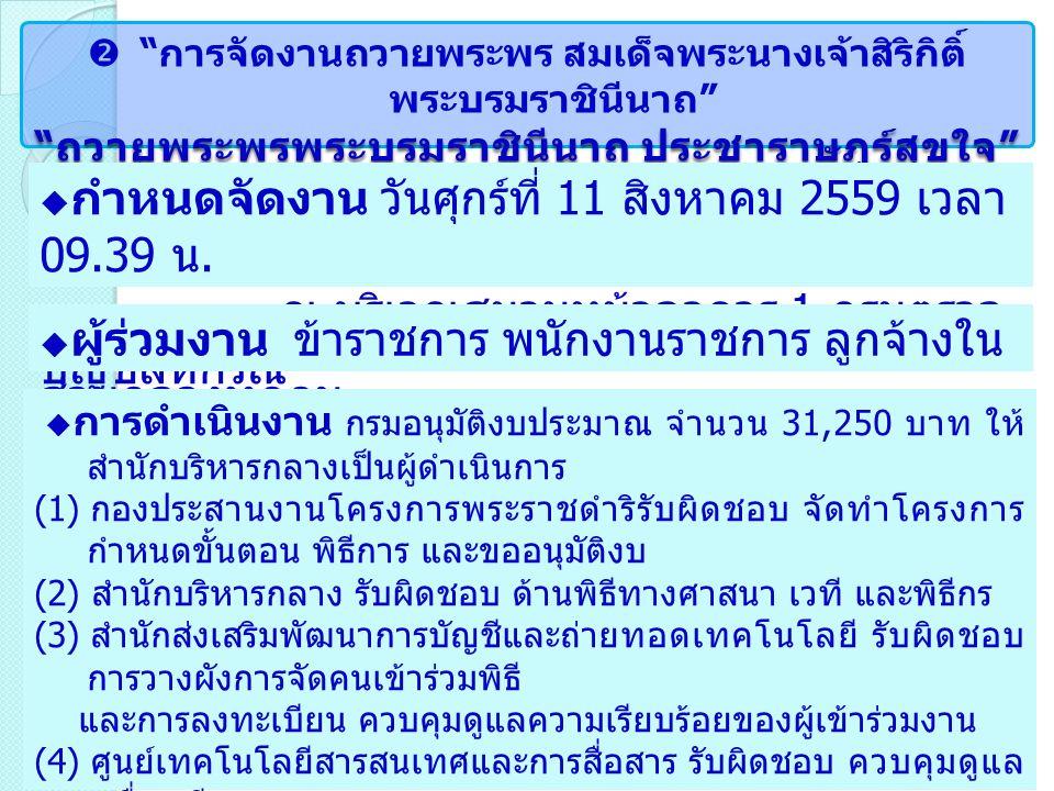  การจัดงานถวายพระพร สมเด็จพระนางเจ้าสิริกิติ์ พระบรมราชินีนาถ ถวายพระพรพระบรมราชินีนาถ ประชาราษฎร์สุขใจ  กำหนดจัดงาน วันศุกร์ที่ 11 สิงหาคม 2559 เวลา 09.39 น.