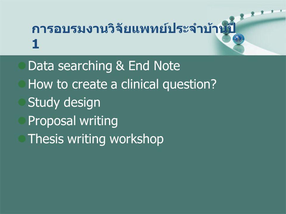 การอบรมงานวิจัยแพทย์ประจำบ้านปี 1 Data searching & End Note How to create a clinical question? Study design Proposal writing Thesis writing workshop