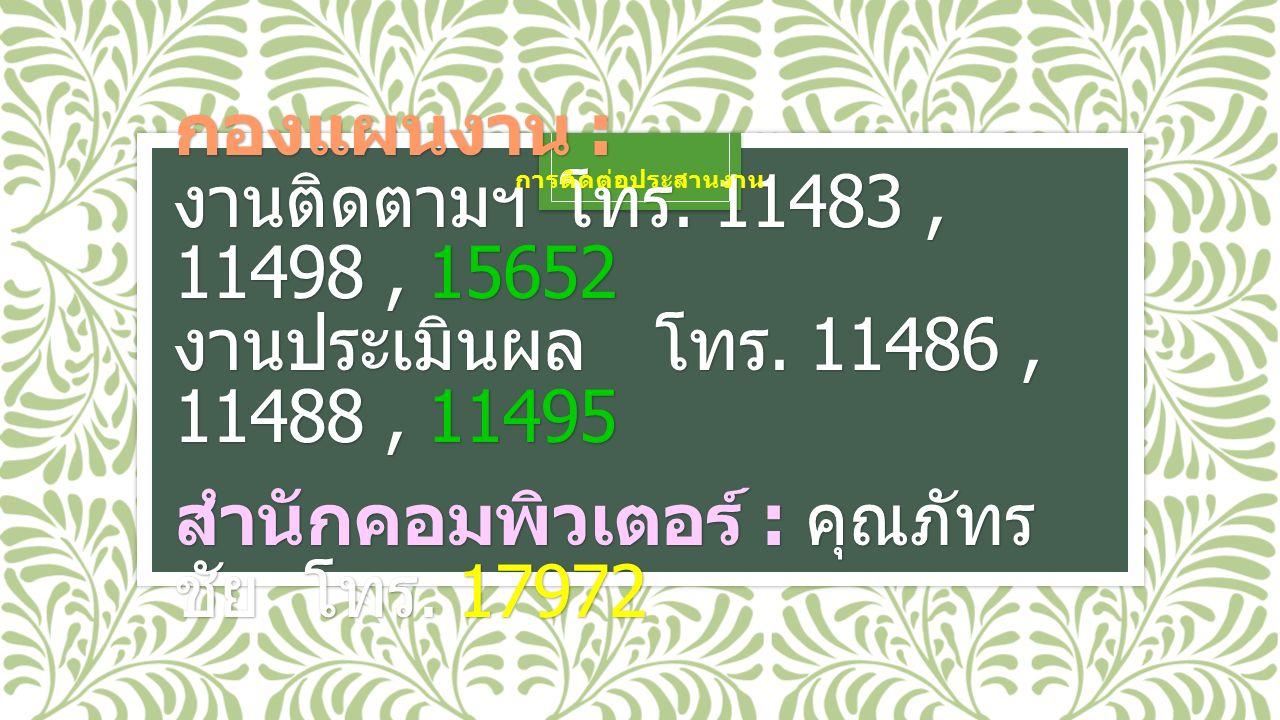 กองแผนงาน : งานติดตามฯโทร. 11483, 11498, 15652 งานประเมินผลโทร.