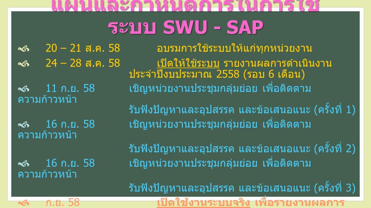 แผนและกำหนดการในการใช้ ระบบ SWU - SAP  20 – 21 ส.