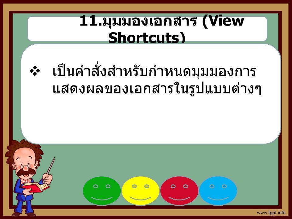 11. มุมมองเอกสาร (View Shortcuts)  เป็นคำสั่งสำหรับกำหนดมุมมองการ แสดงผลของเอกสารในรูปแบบต่างๆ