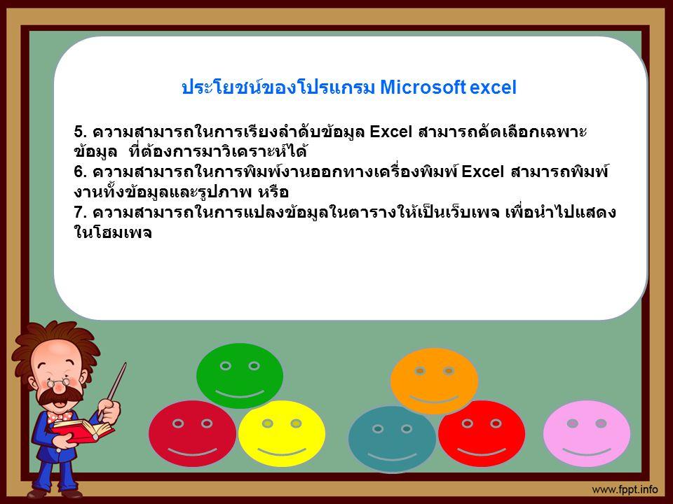 ประโยชน์ของโปรแกรม Microsoft excel 5. ความสามารถในการเรียงลำดับข้อมูล Excel สามารถคัดเลือกเฉพาะ ข้อมูล ที่ต้องการมาวิเคราะห์ได้ 6. ความสามารถในการพิมพ