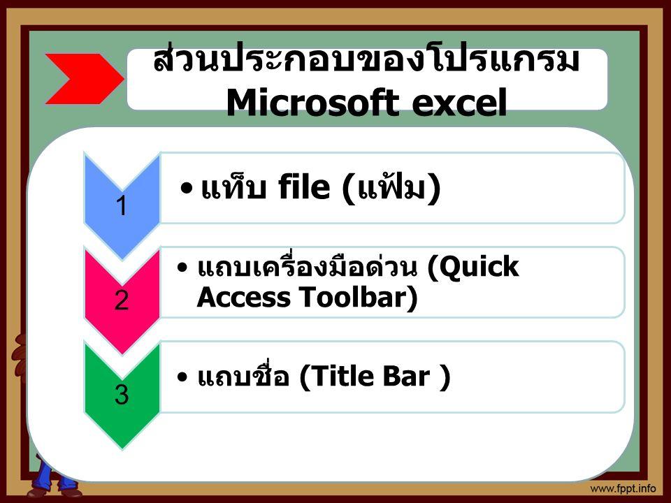 ส่วนประกอบของโปรแกรม Microsoft excel 1 แท็บ file ( แฟ้ม ) 2 แถบเครื่องมือด่วน (Quick Access Toolbar) 3 แถบชื่อ (Title Bar )