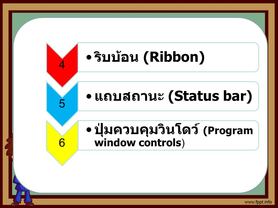 7 ปุ่มตัวช่วย (Help) 8 แถบสูตร (formula Bar) 9 Work Area ส่วนที่ใช้แสดงหรือ ป้อนข้อมูลต่างๆ ลงไป