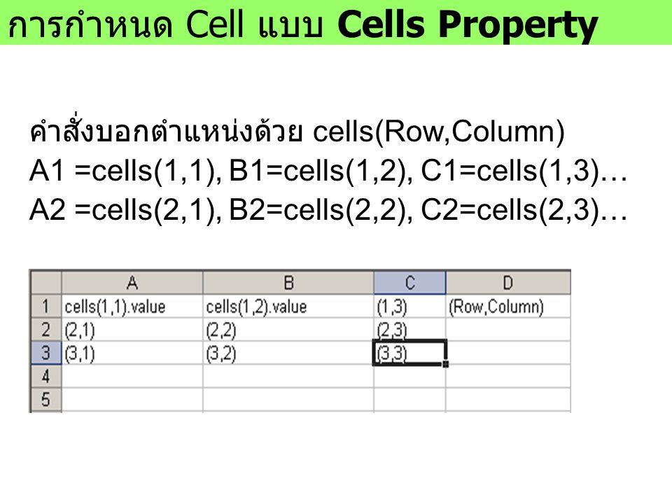 การกำหนด Cell แบบ Cells Property คำสั่งบอกตำแหน่งด้วย cells(Row,Column) A1 =cells(1,1), B1=cells(1,2), C1=cells(1,3)… A2 =cells(2,1), B2=cells(2,2), C2=cells(2,3)…
