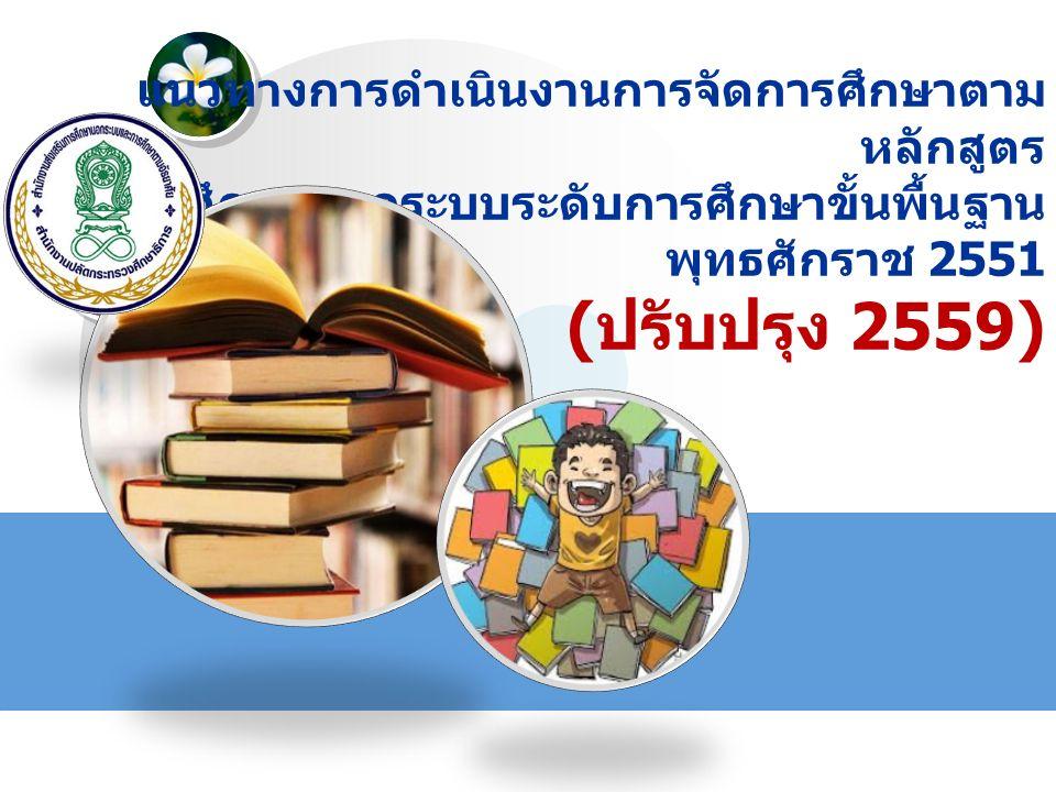 LOGO แนวทางการดำเนินงานการจัดการศึกษาตาม หลักสูตร การศึกษานอกระบบระดับการศึกษาขั้นพื้นฐาน พุทธศักราช 2551 ( ปรับปรุง 2559)