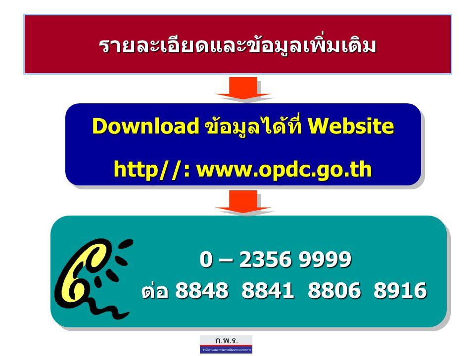 รายละเอียดและข้อมูลเพิ่มเติม Download ข้อมูลได้ที่ Website http//: www.opdc.go.th Download ข้อมูลได้ที่ Website http//: www.opdc.go.th 0 – 2356 9999 ต่อ 8848 8841 8806 8916 0 – 2356 9999 ต่อ 8848 8841 8806 8916