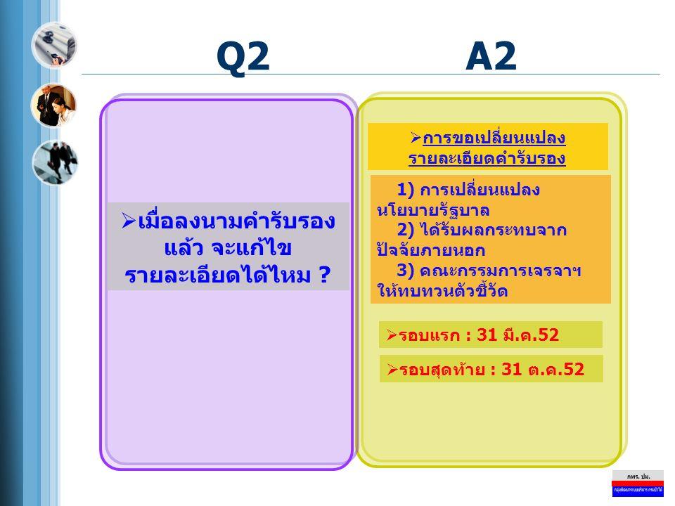 Q2  เมื่อลงนามคำรับรอง แล้ว จะแก้ไข รายละเอียดได้ไหม ? A2  การขอเปลี่ยนแปลง รายละเอียดคำรับรอง  รอบแรก : 31 มี.ค.52 1) การเปลี่ยนแปลง นโยบายรัฐบาล