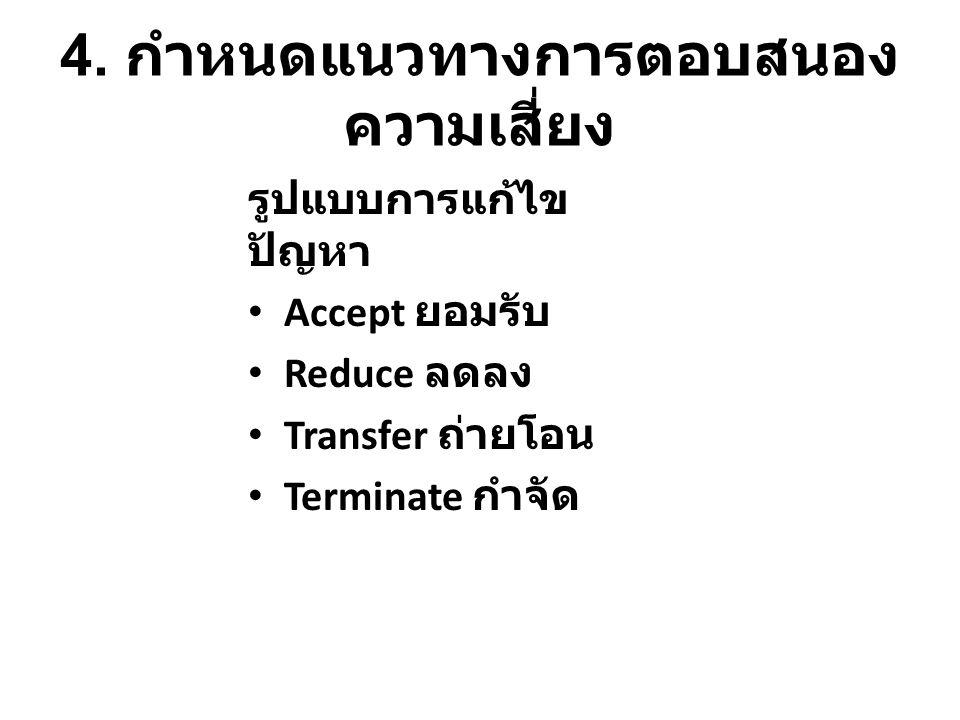 4. กำหนดแนวทางการตอบสนอง ความเสี่ยง รูปแบบการแก้ไข ปัญหา Accept ยอมรับ Reduce ลดลง Transfer ถ่ายโอน Terminate กำจัด