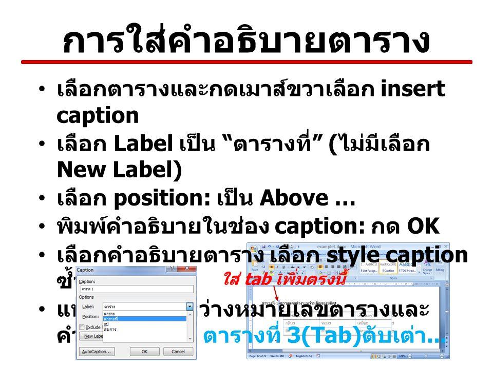 การใส่คำอธิบายตาราง เลือกตารางและกดเมาส์ขวาเลือก insert caption เลือก Label เป็น ตารางที่ ( ไม่มีเลือก New Label) เลือก position: เป็น Above … พิมพ์คำอธิบายในช่อง caption: กด OK เลือกคำอธิบายตาราง เลือก style caption ซ้ำ แทรก tab ระหว่างหมายเลขตารางและ คำอธิบาย เช่น ตารางที่ 3(Tab) ตับเต่า...