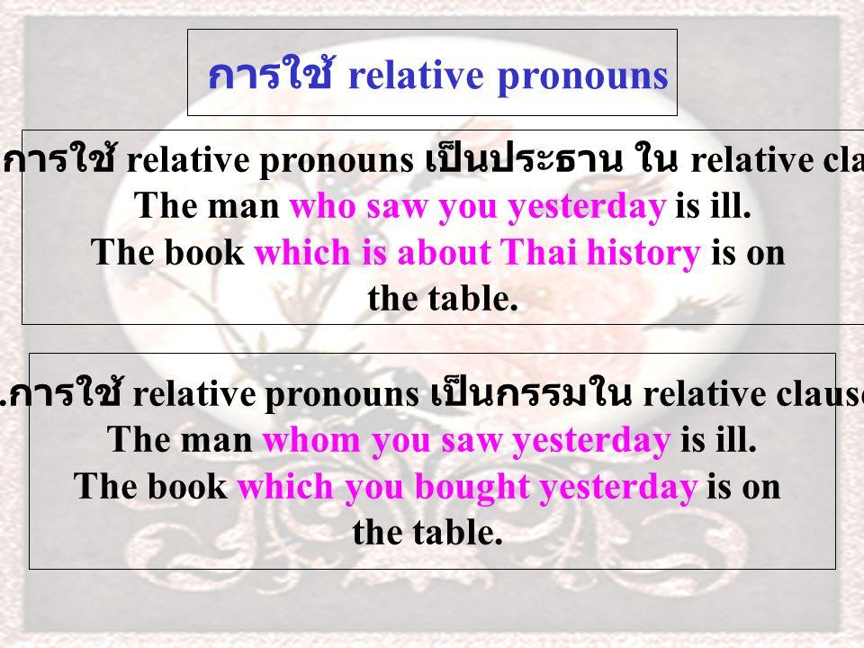 เอกสารประกอบการสอน เรื่อง Relative Pronoun โดย นางไพเราะ มาตะราช กลุ่มสาระการเรียนรู้ภาษาต่างประเทศ 5.The girl to……you speak at the bus stop is my younger sister.