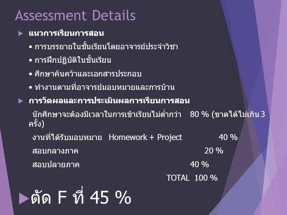 Assessment Details  แนวการเรียนการสอน การบรรยายในชั้นเรียนโดยอาจารย์ประจำวิชา การฝึกปฏิบัติในชั้นเรียน ศึกษาค้นคว้าและเอกสารประกอบ ทำงานตามที่อาจารย์มอบหมายและการบ้าน  การวัดผลและการประเมินผลการเรียนการสอน นักศึกษาจะต้องมีเวลาในการเข้าเรียนไม่ต่ำกว่า 80 % ( ขาดได้ไม่เกิน 3 ครั้ง ) งานที่ได้รับมอบหมาย Homework + Project 40 % สอบกลางภาค 20 % สอบปลายภาค 40 % TOTAL 100 %  ตัด F ที่ 45 %