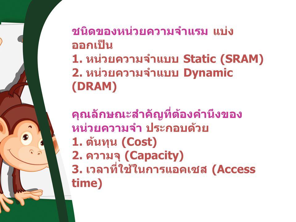 ชนิดของหน่วยความจำแรม แบ่ง ออกเป็น 1. หน่วยความจำแบบ Static (SRAM) 2. หน่วยความจำแบบ Dynamic (DRAM) คุณลักษณะสำคัญที่ต้องคำนึงของ หน่วยความจำ ประกอบด้