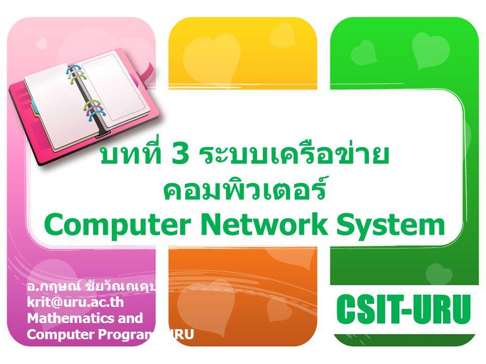 ความหมายของเครือข่าย คอมพิวเตอร์ เครือข่ายคอมพิวเตอร์ (Computer Network) หมายถึง การเชื่อมต่ออุปกรณ์ คอมพิวเตอร์ตั้งแต่ 2 เครื่องขึ้นไป โดยมี เป้าหมายในการแลกเปลี่ยนข้อมูล ใช้งาน อุปกรณ์และซอฟต์แวร์ร่วมกัน