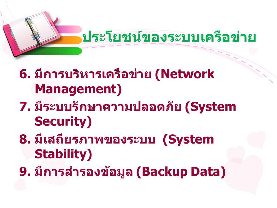 ประโยชน์ของระบบเครือข่าย 6. มีการบริหารเครือข่าย (Network Management) 7.