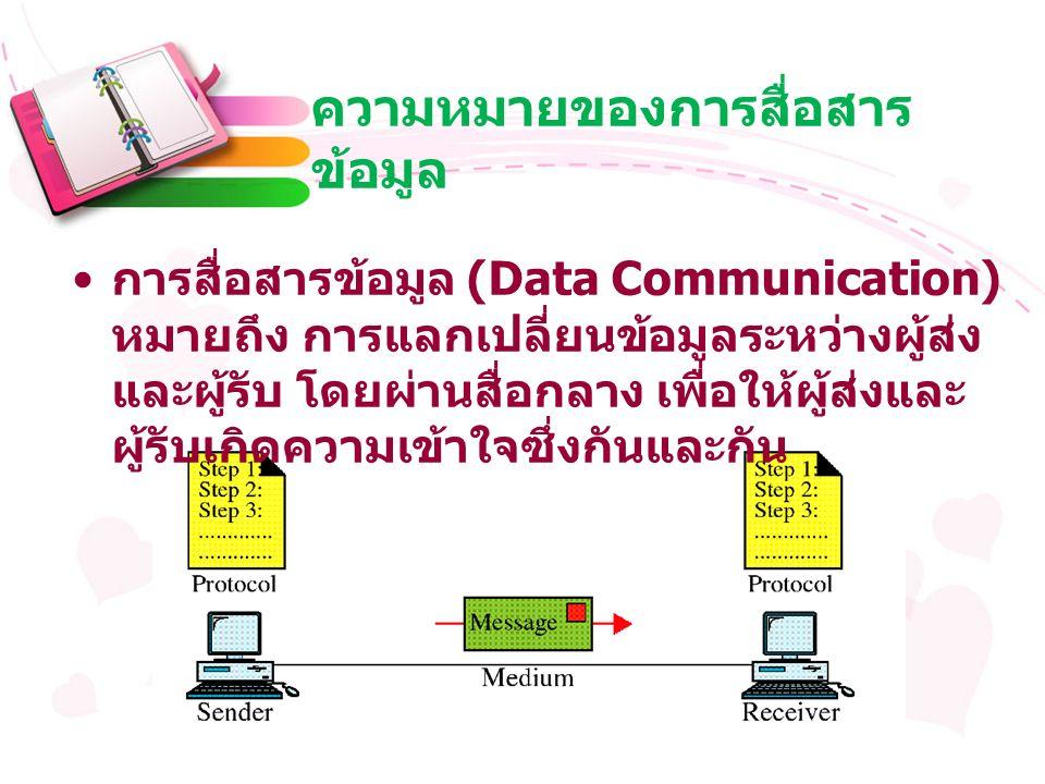 ความหมายของการสื่อสาร ข้อมูล การสื่อสารข้อมูล (Data Communication) หมายถึง การแลกเปลี่ยนข้อมูลระหว่างผู้ส่ง และผู้รับ โดยผ่านสื่อกลาง เพื่อให้ผู้ส่งและ ผู้รับเกิดความเข้าใจซึ่งกันและกัน