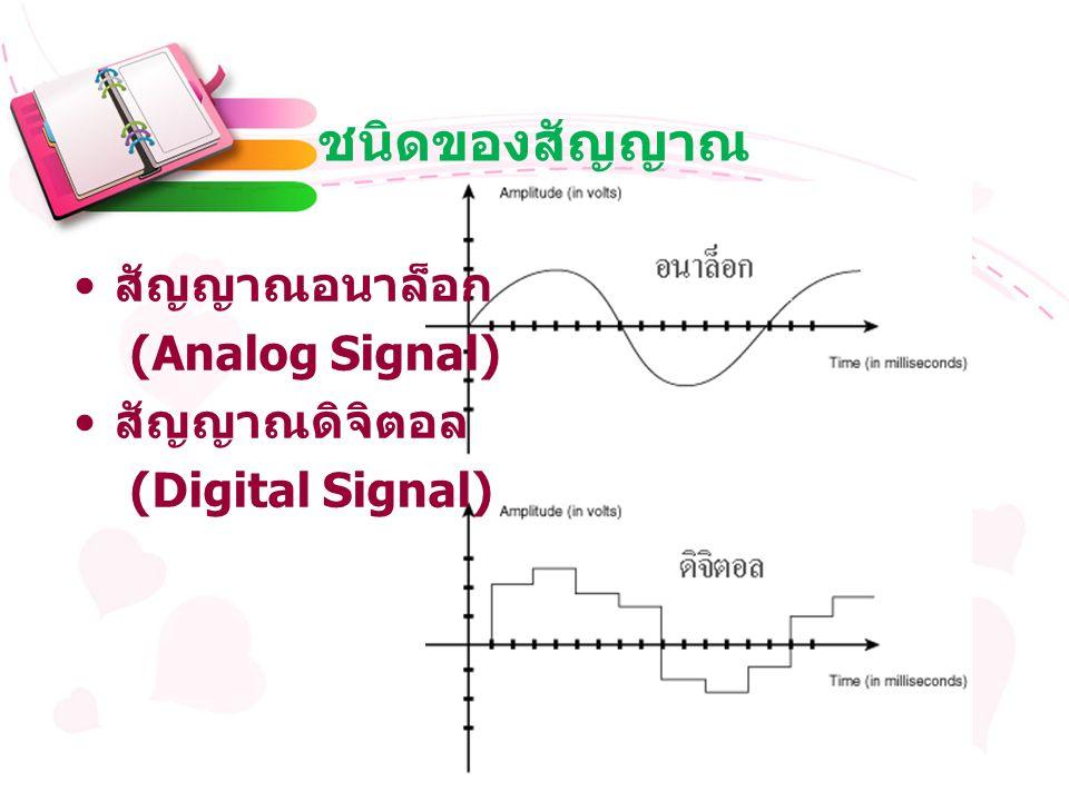 ชนิดของสัญญาณ สัญญาณอนาล็อก (Analog Signal) สัญญาณดิจิตอล (Digital Signal)