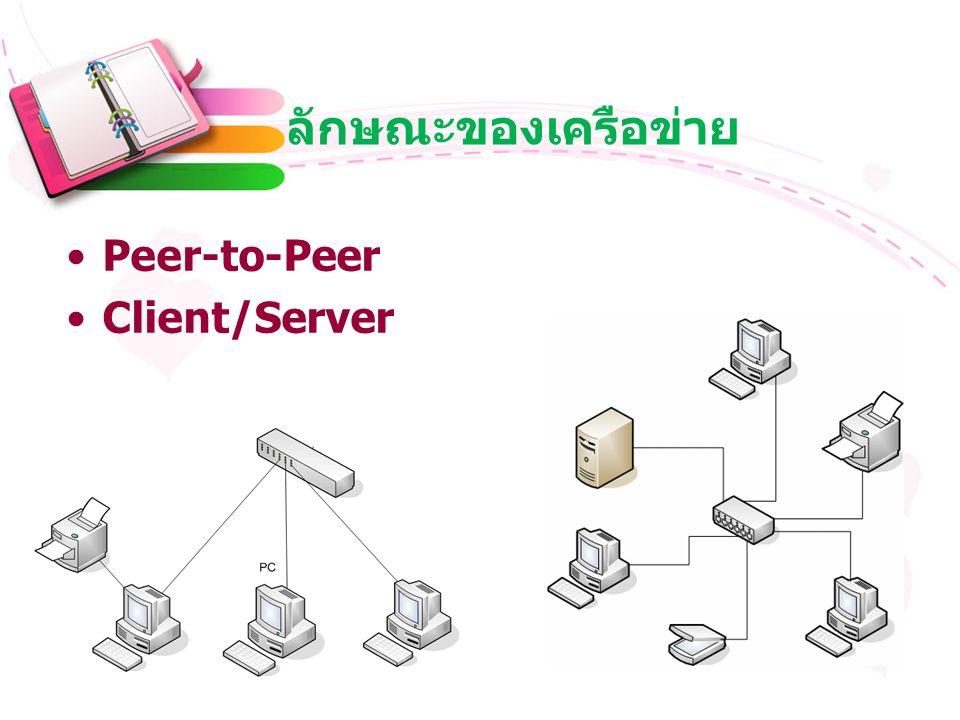 ลักษณะของเครือข่าย Peer-to-Peer Client/Server