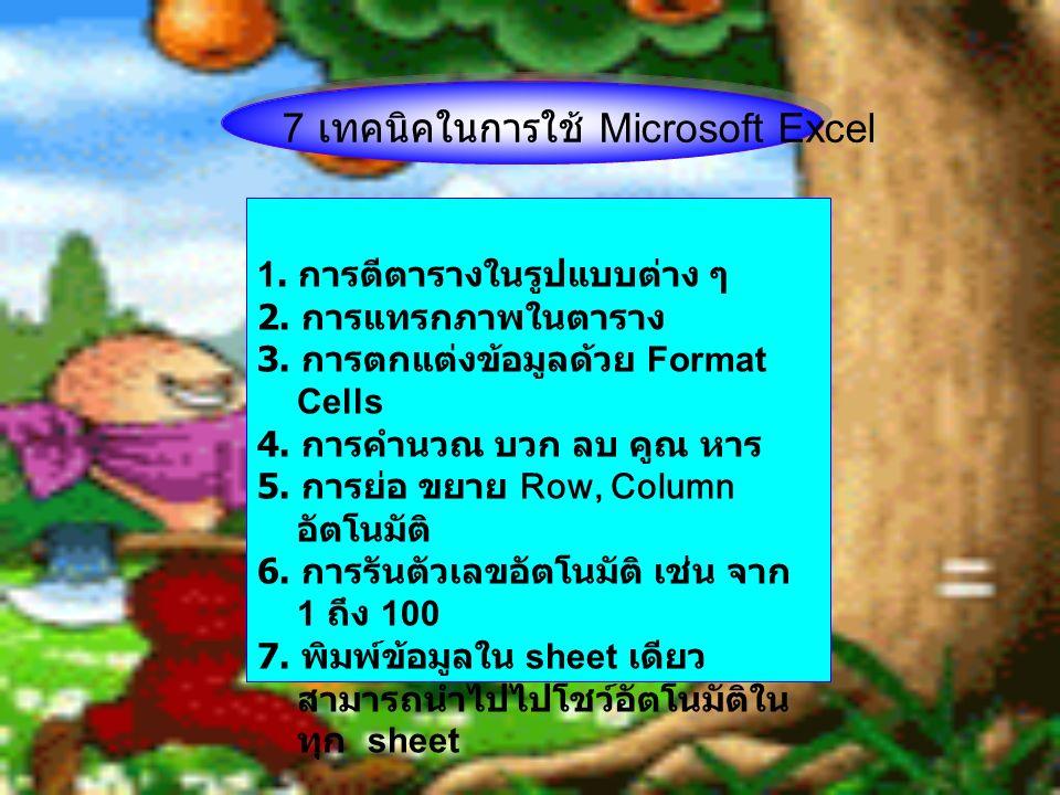 1. การตีตารางในรูปแบบต่าง ๆ 2. การแทรกภาพในตาราง 3. การตกแต่งข้อมูลด้วย Format Cells 4. การคำนวณ บวก ลบ คูณ หาร 5. การย่อ ขยาย Row, Column อัตโนมัติ 6