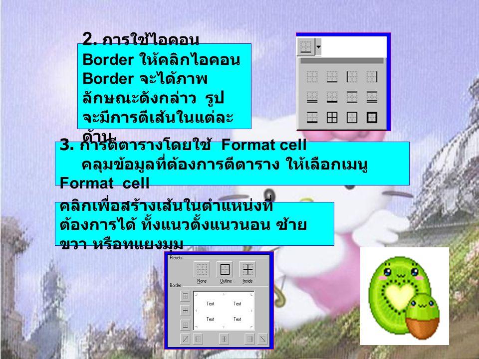 3. การตีตารางโดยใช้ Format cell คลุมข้อมูลที่ต้องการตีตาราง ให้เลือกเมนู Format cell คลิกเพื่อสร้างเส้นในตำแหน่งที่ ต้องการได้ ทั้งแนวตั้งแนวนอน ซ้าย
