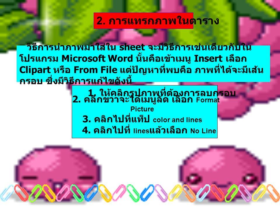 วิธีการนำภาพมาใส่ใน sheet จะมีวิธีการเช่นเดียวกับใน โปรแกรม Microsoft Word นั้นคือเข้าเมนู Insert เลือก Clipart หรือ From File แต่ปัญหาที่พบคือ ภาพที่