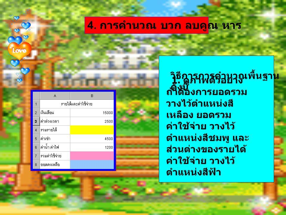 วิธีการการคำนวณพื้นฐาน ดังนี้ 1. ดูภาพตัวอย่าง ถ้าต้องการยอดรวม วางไว้ตำแหน่งสี เหลือง ยอดรวม ค่าใช้จ่าย วางไว้ ตำแหน่งสีชมพู และ ส่วนต่างของรายได้ ค่