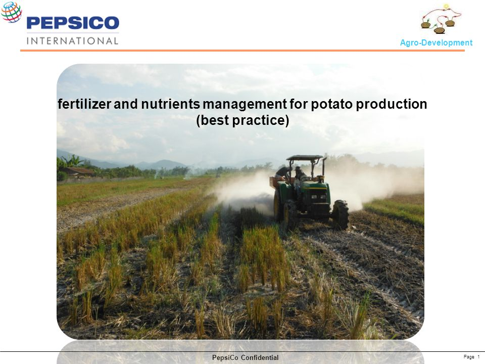 Page 1 PepsiCo Confidential Agro-Development fertilizer and nutrients management for potato production (best practice)