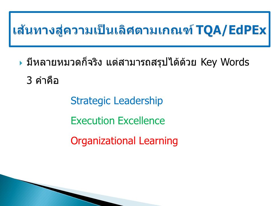 มีหลายหมวดก็จริง แต่สามารถสรุปได้ด้วย Key Words 3 คำคือ Strategic Leadership Execution Excellence Organizational Learning