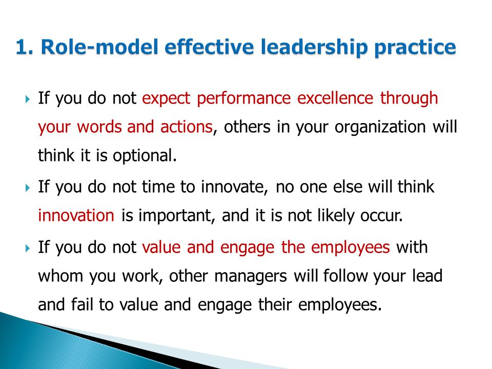  If you do not expect performance excellence through your words and actions, others in your organization will think it is optional.