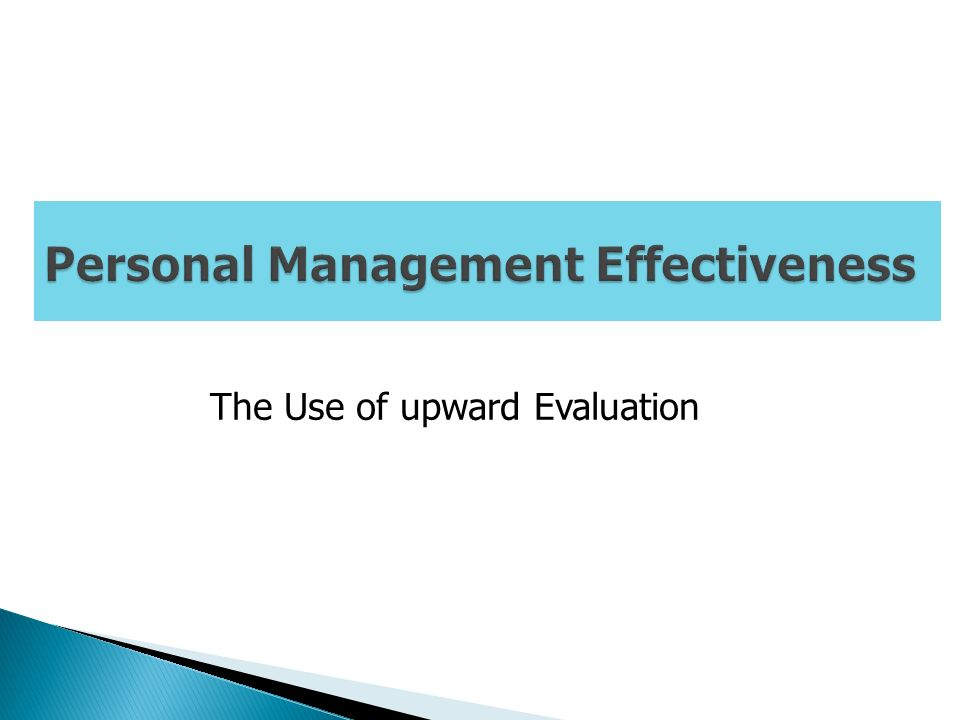 The Use of upward Evaluation
