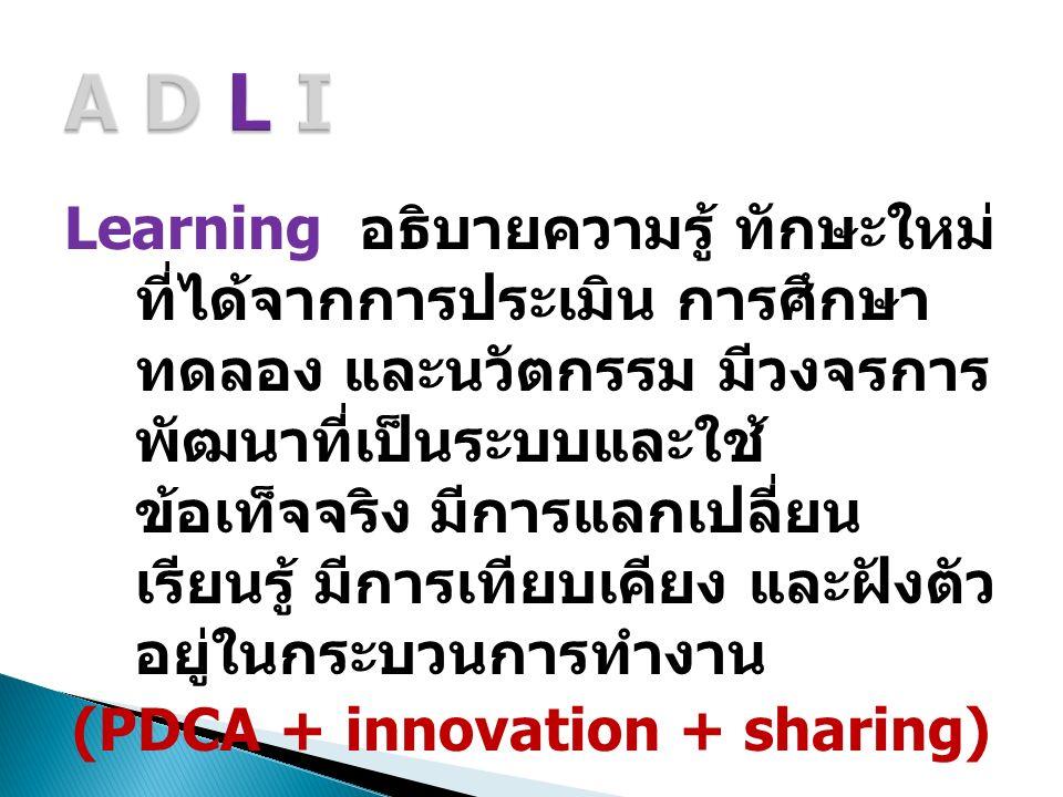Learning อธิบายความรู้ ทักษะใหม่ ที่ได้จากการประเมิน การศึกษา ทดลอง และนวัตกรรม มีวงจรการ พัฒนาที่เป็นระบบและใช้ ข้อเท็จจริง มีการแลกเปลี่ยน เรียนรู้ มีการเทียบเคียง และฝังตัว อยู่ในกระบวนการทำงาน (PDCA + innovation + sharing)